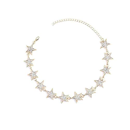 Noopvan Fashion Five-Pointed Star Charm Rhinestone Diamante Necklace Women Jewelry (Gold) (Gold Diamante Charms)