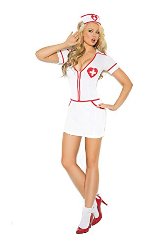 Costume Hearts Candy (Elegant Moments EM-9096 Heart Throb Hottie - 2 pc. costume S White)