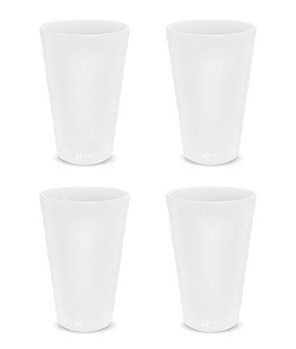 Silipint Silicone Pint Glass Set, Patented, BPA-Free, Shatter-proof Silicone Cup Drinkware (4-Pack, Frosted White)