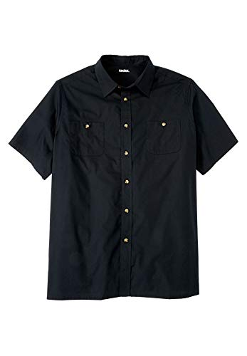KingSize Easy-Care Short-Sleeve Solid Sport Shirt, Black Tall-2XL ()