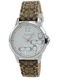 Coach Womens 14501620 Classic Signature Strap Silver Dial Watch (Womens Coach Watches Silver)