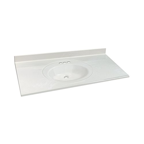 Transolid 1409-7821 43-in x 22-in Cultured Marble Bathroom Vanity Top in White on (22 White Vanity Top)