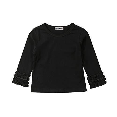 7f5f2cba Toddler Baby Girl Basic Plain Ruffle Cuff Long Sleeve Cotton T Shirts Tee  Tops (Black