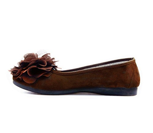 Women Loafer Flower Slip Toe Shoes Round Comfortable Casual Flats Fashion With Ballet On Bigwanbig Coffee dq5Cwd