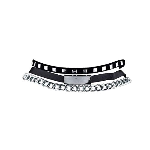 Lux Accessories Black Pyramid Studded Suede Leather ID Bar Chain Choker Set -