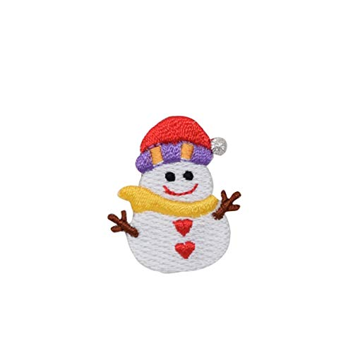 Small Snowman - Santa Hat - Heart Buttons - Iron on Applique/Embroidered Patch -
