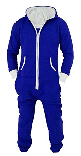 - XQS Men's One Piece Jumpsuit Hooded Plain Playsuit All in one Blue L