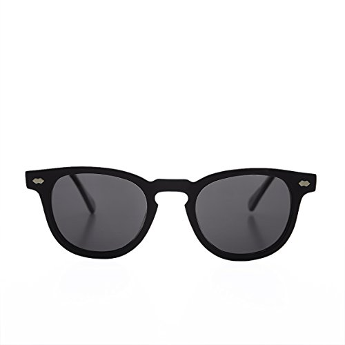 Black James Dean Style Horn Rim Sunglasses with Gray Lens - - Sunglasses Benson