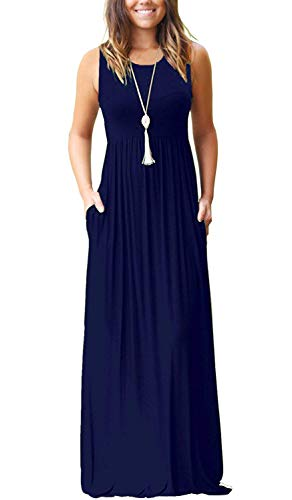 AUSELILY Women's Summer Sleeveless Loose Plain Maxi Dress Casual Long Dress with Pockets (XL, Navy Blue) (Sleeveless Maternity Wrap)