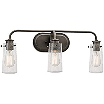 Kichler 45459OZ Braelyn 3 Light Vanity Fixture And Clear Seedy Glass, Olde  Bronze Finish