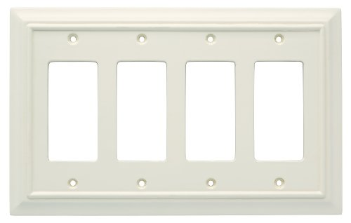 [Brainerd 126452 Wood Architectural Quad Decorator Wall Plate / Switch Plate / Cover, Light Almond] (Quad Light Switch Cover)