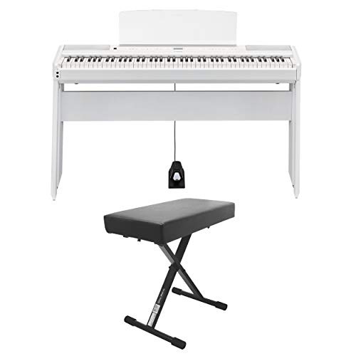 Yamaha P-515 88-Key Portable Digital Piano (White) (with L515 matching stand and bench)