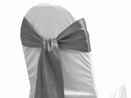 MDS Pack of 150 satin chair sashes bow sash for wedding and Events Supplies Party Decoration chair cover sash -Silver gray
