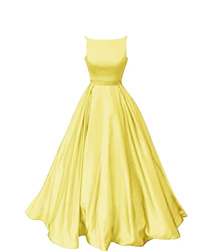 Staypretty Long Prom Dresses with Pockets Satin Formal Beaded A-line Evening Gowns for Women Yellow Size 2
