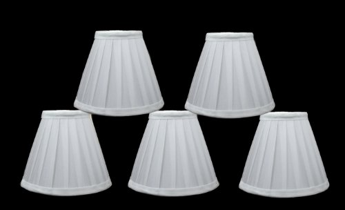 - Urbanest Set of 5 Side Pleat Chandelier Lamp Shades, 6-inch, Off White, Clip On