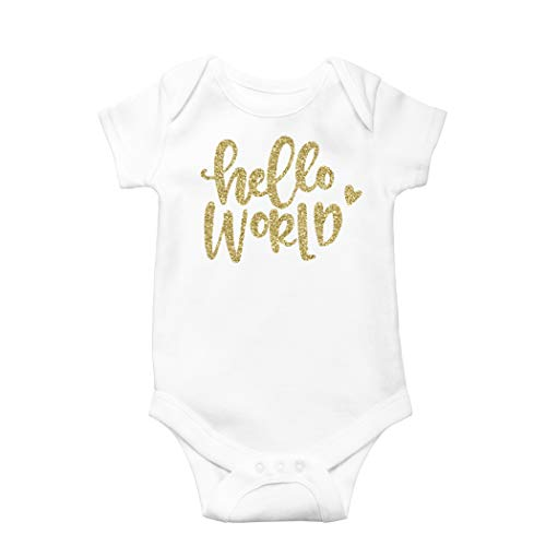 Olive Loves Apple Newborn Take Home Bodysuit Hello World Girl Coming Home Outfit Gold,Gold,Newborn Short Sleeve]()