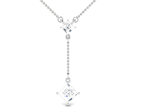 Or Blanc 18 ct Pendentifs Diamant en forme de Y, 0.04 Ct Diamant, GH-SI, 0.44 grammes.