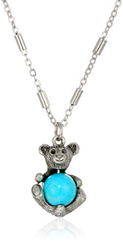 1928 Jewelry Women's Pewter Round Semi Precious Howlite Dyed Turquoise Teddy Bear 16 inch Necklace, Blue, One Size