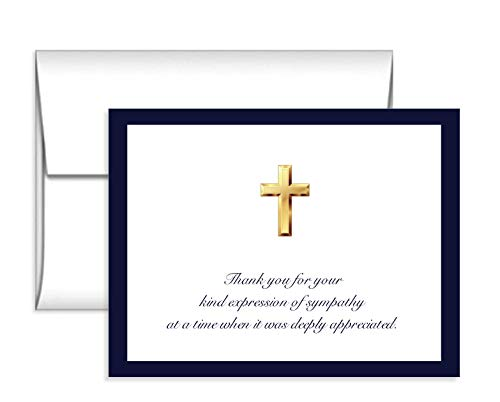 (Impressions 50 Cross Sympathy Acknowledgement Cards, Navy, Folded, Includes Envelopes)