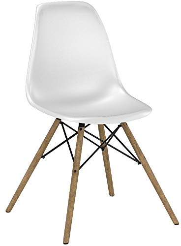DHP Mid Century Modern Chair with Wood Legs, Set of Two, Lightweight, White by DHP (Image #10)