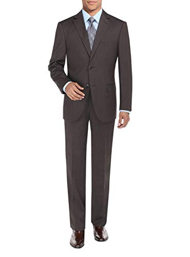 DTI BB Signature Two Button Men's Suit Sharkskin Jacket Modern Fit Blazer Pants (42 Regular US / 52R EU/W 36