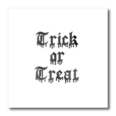 3dRose InspirationzStore - Occasions - Trick or Treat Happy Halloween Scary Dripping Writing Black drip Text - 10x10 Iron on Heat Transfer for White Material (ht_318143_3) -