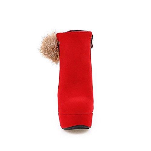 Tacchi Alti Alla Caviglia Con Tacco Grosso Alla Moda E Tacco Largo In Pelliccia Rossa