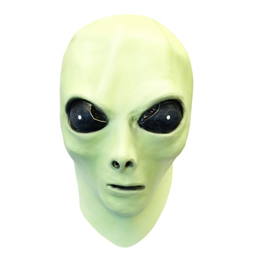 glow in the dark alien face mask with alien bendable toy