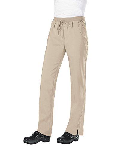 KOI Tech Women's MIA Drawstring Elastic Waist Scrub Pant Large Petite Khaki