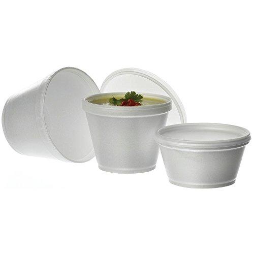 Styrofoam Soup Container Flat Lid8/12 oz 1000 Per Case