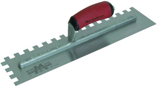 MARSHALLTOWN The Premier Line 711SD 16-Inch by 4-Inch Notched Trowel with Curved DuraSoft Handle