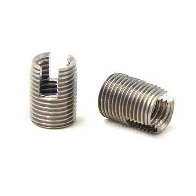 Ochoos 10pcs M101.518 L 302 Slotted Type Stainless Steel Screw Bushing M10 Wire Thread Repair Insert Self Tapping Thread Insert