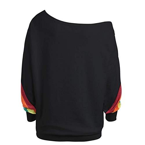 Pardessus À Manches en Longues Rayé Taille Blouse Capuche Imprimer Pulls haut Femmes Xxl Automne Arc Mode Noir Ensemble Hiver coloré Outwear Sweat Noir wxvY6I8