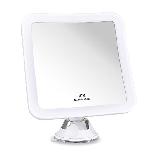 iAdorn 10x Magnifying Lighted Makeup Mirror - Daylight LED Travel Vanity Mirror - Compact, Cordless, Locking Suction, 6.5