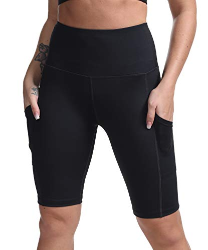 DILANNI Women High Waist Yoga Shorts Side Pocket Tummy Control Workout Running Athletic Short Pants Black Medium