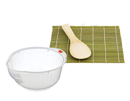 HIC Japanese Rice Washing Bowl and Sushi Mat with Rice Paddle, 3-Piece ()