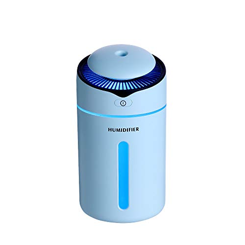 Jeeke Portable Mini Humidifier Water Purifier Atomizer Diffuser Air Diffuser USB Charging (Blue, 1 Pcs 300ml)