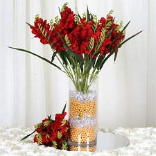 4 Red Bushes Silk Freesia Wedding Flowers Bouquets Reception Party Decorations (Bouquet Wedding Freesia)