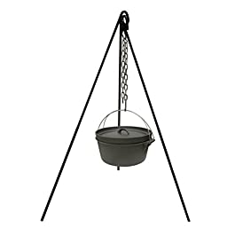Stansport Cast Iron Camping Tripod for Outdoor Campfire Cooking Black, 13 lb