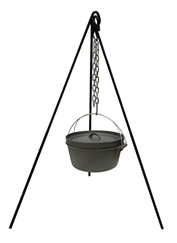 STANSPORT Cast Iron Camping Tripod for Outdoor Campfire Cooking