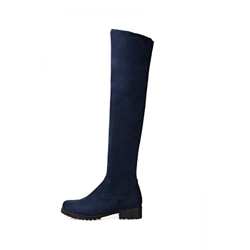 Slip Block Round Flock Women Knee Heels High Black Women Red Leather Shoes Navy Blue Boots Ladies Heels On Toe 43 Navy Blue JIEEME cm Low qXt5Pt