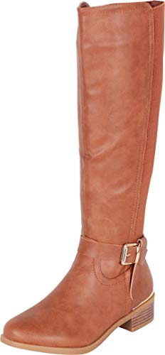 Cambridge Select Women's Buckled Strap Stretch Calf Riding Knee-High Boot,6 B(M) US,Tan PU