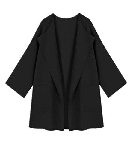 Bolsillo Abrigos Black Manga Coat Clasicos Mujer Larga Suelto Abrigos Largo Tops Casuales Color Con SÓLido Outwear Chaquetas Sencillos BESTHOO Joven aqHwUOx5