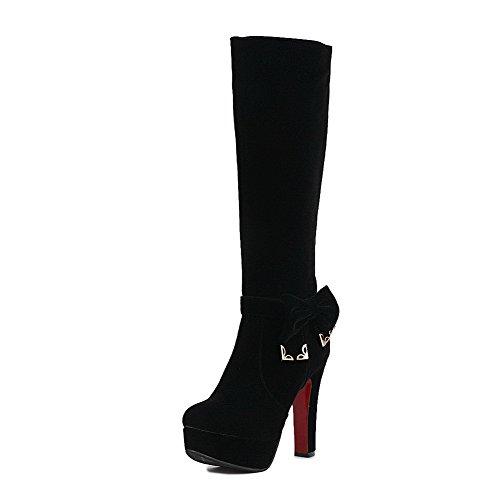 AgooLar Damen Hoher Absatz Blend-Materialien Rein Reißverschluss Rund Zehe Stiefel, Rot, 35