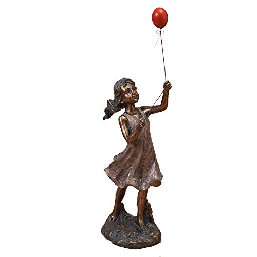 One Holiday Way Playing Boy and Girl Garden Statues - Bronze-Look Yard Figurines (Girl)