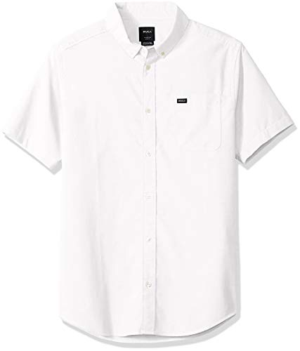 RVCA Men's Thatll DO Stretch Short Sleeve Woven Button UP Shirt, White, M