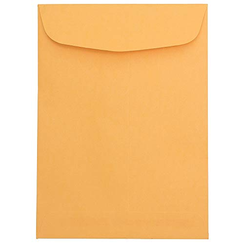 JAM PAPER 7 1/2 x 10 1/2 Open End Catalog Recycled Envelopes - Brown Kraft Manila - - Open Brown Catalog End Kraft