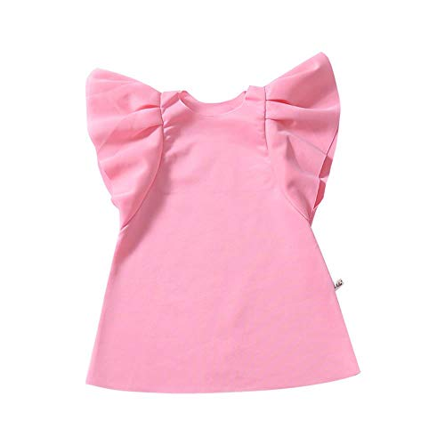 YOUNGER TREE Baby Girl Ruffled Dress Infant Toddler Pink Skirt Soft Summer Spring Dress Clothes (Pink, 3-4T)