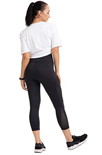 UURUN Women's Capri Workout Leggings with Pockets High Waisted Tummy Control Yoga Pants Non See Through Mesh Compression Running Capris for Fitness Gym Athletic 883 Black M