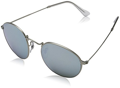 Ray-Ban RB3447 Round Metal Sunglasses, Matte Silver/Silver Flash, 50 mm